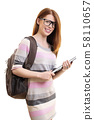 Cute female student with glasses 58110657