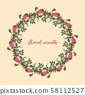 Pink and white roses wreath 58112527