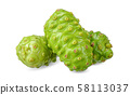 Noni fruit isolated on white clipping path 58113037