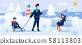Cartoon Family Rest in Snowy Forest Park Together 58113803