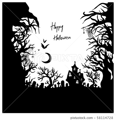 Halloween night with creepy castle vector 58114728
