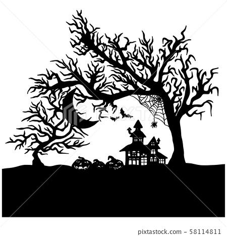 Halloween night with creepy castle vector 58114811