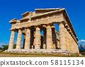 The greek Temple of Hera-II. Paestum, Italy 58115134