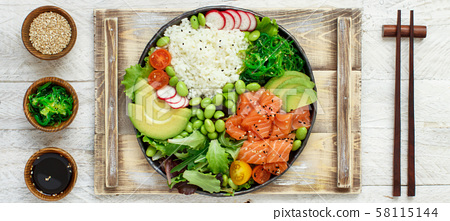 Hawaiian salmon poke bowl 58115144