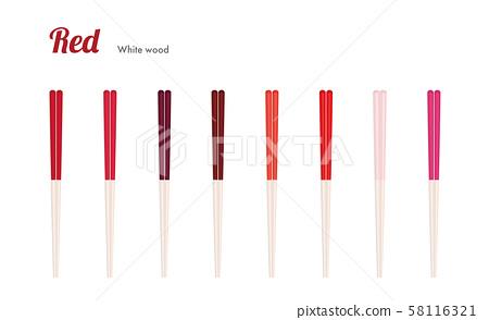Chopsticks Red White wood (Chopsticks Red) 58116321