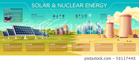 solar, nuclear energy industry infographics 58117448