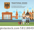 Urban landscape with Germany landmarks and peoples 58118649
