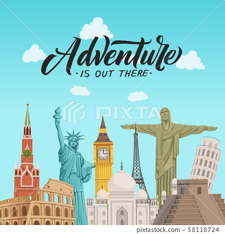 Vector world sights background illustration with place for text 58118724