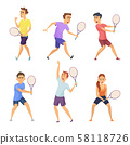 Various tennis players. Vector characters in action poses 58118726