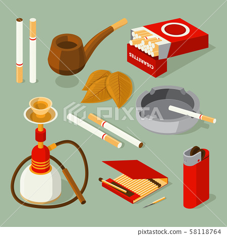 Isometric pictures of different accessories for smokers 58118764