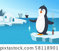Illustration of little penguin fishing in the north 58118901