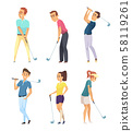 Different golf players isolate on white background 58119261