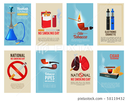 Different vector cards with illustrations of various tools for smokers 58119432