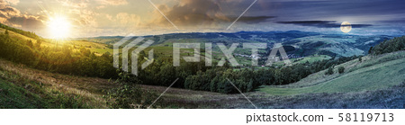 panorama of time change in countryside 58119713