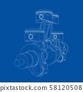 Engine pistons outline. Vector rendering of 3d 58120508