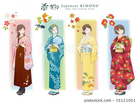 ชุดภาพเวกเตอร์ชุดกิโมโน (袴, ยูกาตะ, โทเมโซะโดสี, กิโมโน) 58121001
