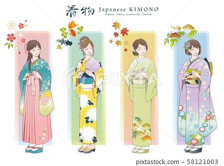 和服矢量插圖集(褲裙,浴衣,彩色Tomesode,折iso) 58121003