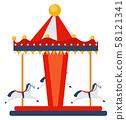 Amusement park element, Carousel with horses.  58121341