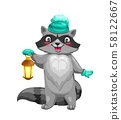 Raccoon animal with knitted hat and lantern 58122667