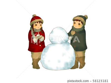 Kids playing until snowman no background 58123181