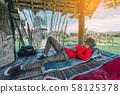 Relaxing moments, Asian relaxing outdoor on the 58125378
