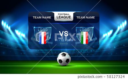 soccer football stadium spotlight and scoreboard 58127324
