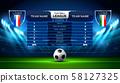soccer football stadium spotlight and scoreboard 58127325