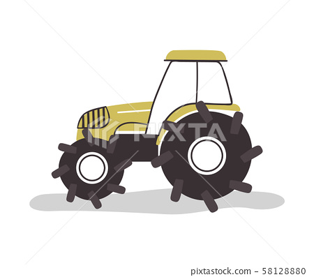 Flat farm tractor vehicle on isolated background 58128880