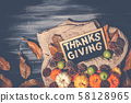 Top view of Thanksgiving concepts on dark 58128965