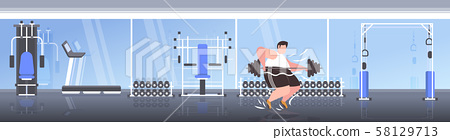 fat obese man lifting barbell overweight guy cardio training workout weight loss concept modern 58129713