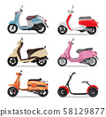 Set of colorful moped in flat style side view. 58129877