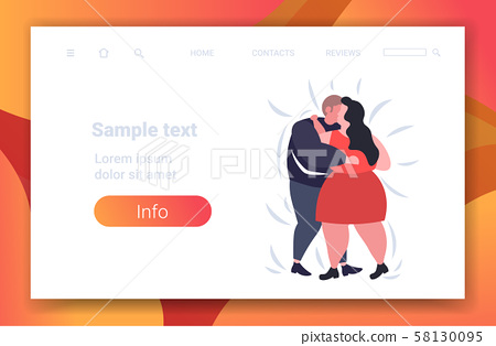 fat obese couple dancing together overweight man woman embracing weight loss obesity concept flat 58130095