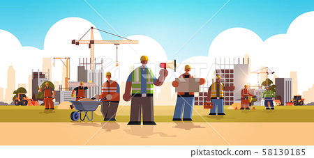 builders team wearing hard hat busy workmen standing together mix race industrial workers in uniform 58130185
