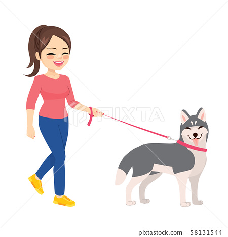 Happy young woman walking with husky dog pet 58131544