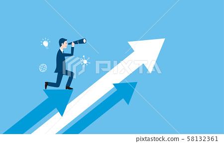 商人和望遠鏡,箭頭的企業形象 58132361