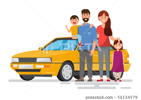 Happy family. Father, mother and children going to 58134579