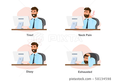 Office syndrome, business man illness from hard 58134598