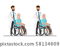 old man sit on a wheelchair with doctor take care 58134609