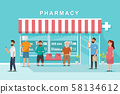pharmacy store with client in the city 58134612