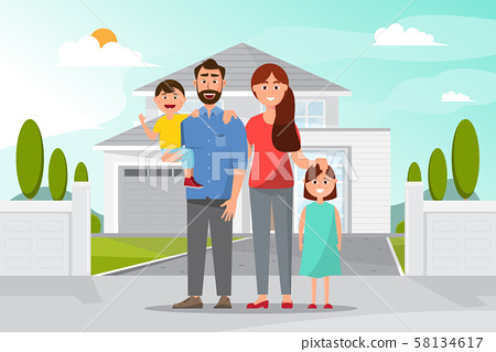 Happy family in front of the home. father mother, 58134617