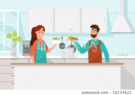 Husband and wife cooking together. Man and woman 58134622