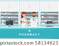 pharmacy with doctor and nurse in counter 58134623