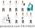 Set of doctor cartoon characters. Medical staff 58134624