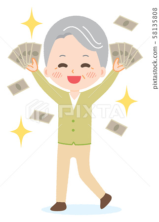 부자 재산 춤추는 떨어지는 노인 연금 일러스트 58135808