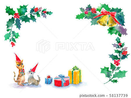 Christmas cat illustration watercolor Christmas present frame 58137739