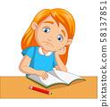 Little girl bored studying homework 58137851