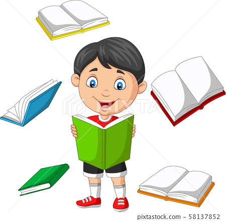 Little boy surrounded by flying books 58137852
