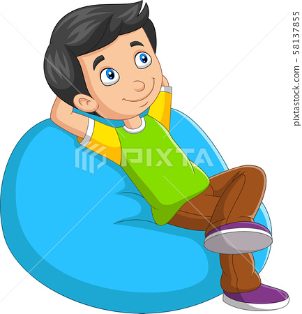 Cartoon little boy relaxing on sofa 58137855