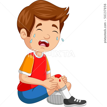 Cartoon little boy crying with scraped knee 58137856
