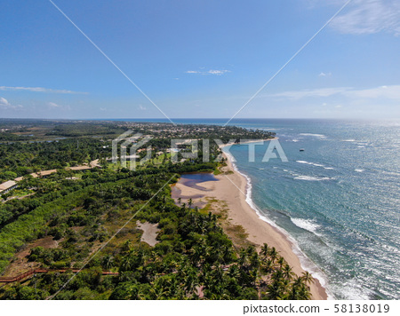 Aerial view of tropical beach and turquoise clear 58138019